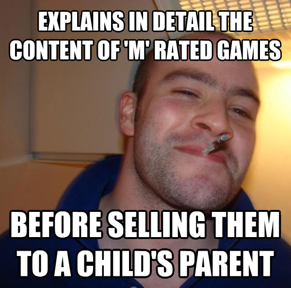 Good Guy Greg explains in detail the content of  m  rated games before selling them to a child s parent , made with livememe meme generator