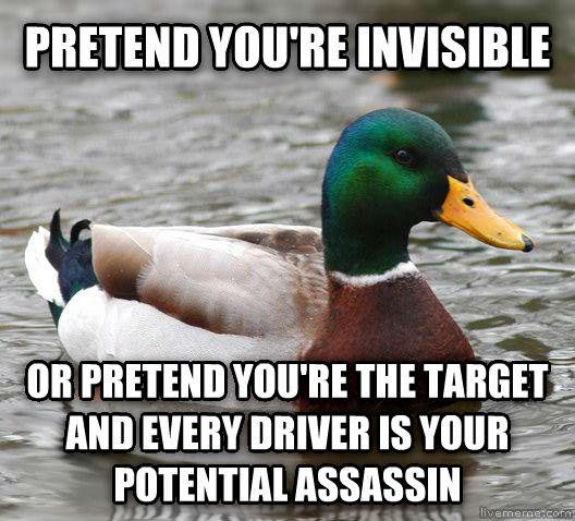 Actual Advice Mallard pretend you re invisible or pretend you re the target and every driver is your potential assassin , made with livememe meme creator