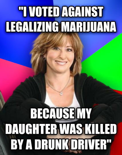 Sheltering Suburban Mom  i voted against legalizing marijuana because my child was killed by a drunk driver   , made with livememe meme creator