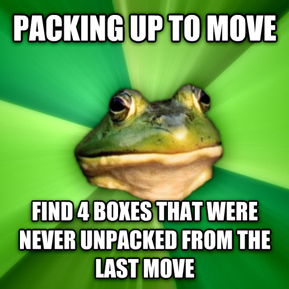 Foul Bachelor Frog packing up to move find 4 boxes that were never unpacked from the last move  , made with livememe meme creator