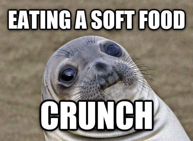 Uncomfortable Situation Seal eating a soft food crunch , made with livememe meme generator