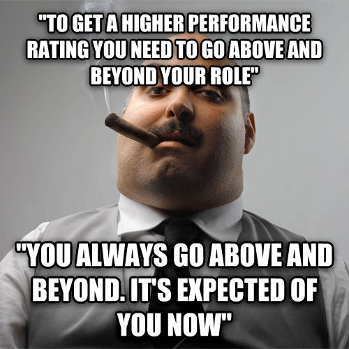 Scumbag Boss  to get a higher performance rating you need to go above and beyond your role   you always go above and beyond. it s expected of you now  , made with livememe meme maker
