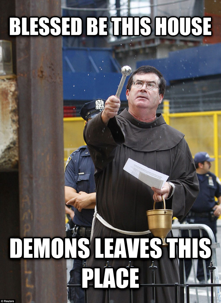 Bathroom Priest blessed be this house demons leaves this place , made with livememe meme creator