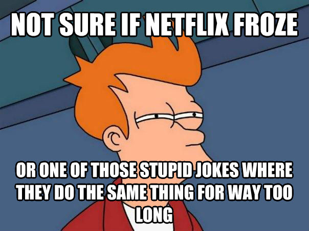 Futurama Fry not sure if netflix froze or one of those dopey jokes where they do the same thing for way too long , made with livememe meme generator