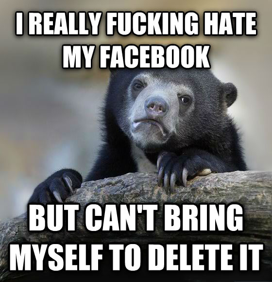Confession Bear i really flipping hate my facebook but can t bring myself to delete it , made with livememe meme generator