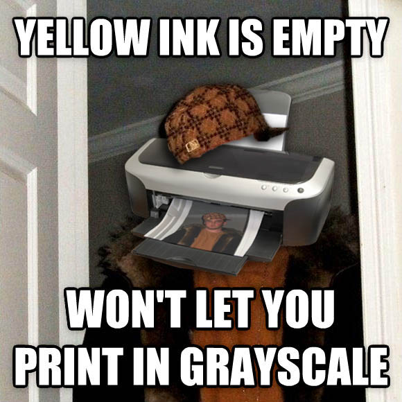Scumbag Steve yellow ink is empty won t let you print in grayscale , made with livememe meme maker