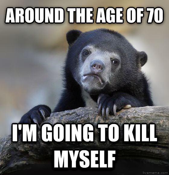 Confession Bear around the age of 70 i m going to kill myself , made with livememe meme maker