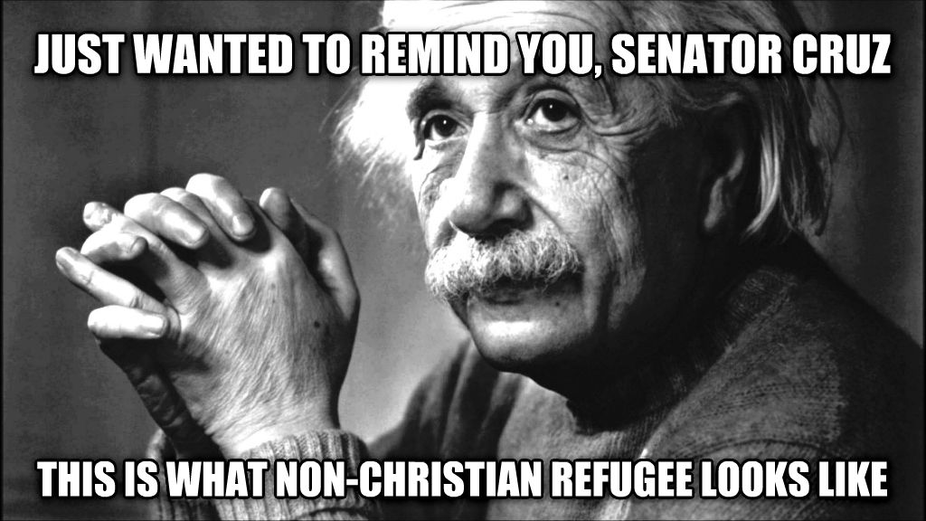 Cruz wants religious test for refugees just wanted to remind you, senator cruz this is what non-christian refugee looks like , made with livememe meme generator