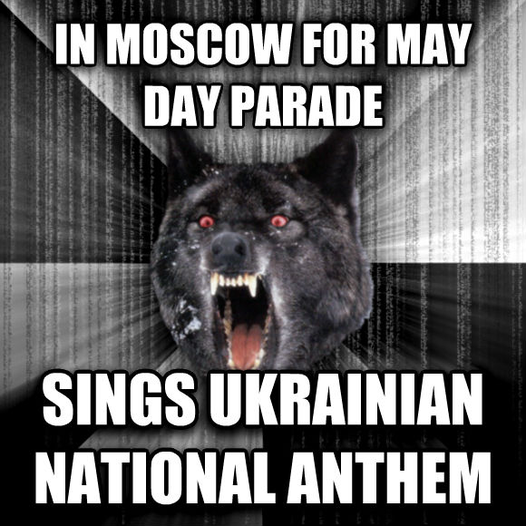 Insanity Wolf in moscow for may day parade sings ukrainian national anthem  , made with livememe meme generator