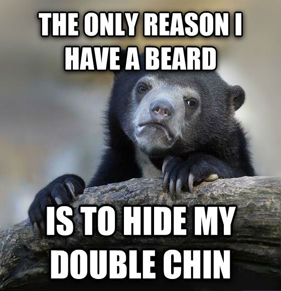 Confession Bear the only reason i have a beard is to hide my double chin , made with livememe meme creator