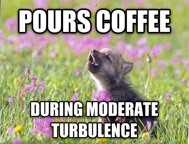Baby Insanity Wolf pours coffee during moderate turbulence , made with livememe meme generator
