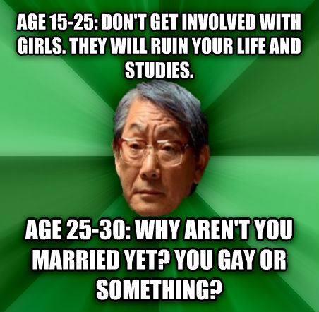 High Expectations Asian Father age 15-25: don t get involved with girls. they will ruin your life and studies. age 25-30: why aren t you married yet? you sweet or something?  , made with livememe meme creator