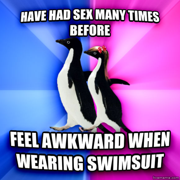 Socially Awkward Couple have had fun many times before feel awkward when wearing swimsuit  , made with livememe meme maker