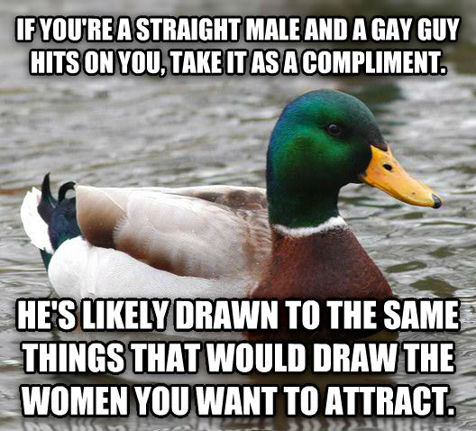 Actual Advice Mallard if you re a straight male and a sweet guy hits on you, take it as a compliment. he s likely drawn to the same things that would draw the women you want to attract. , made with livememe meme generator