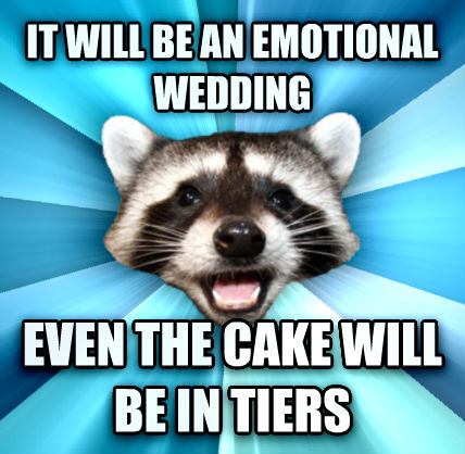 Lame Pun Coon it will be an emotional wedding even the cake will be in tiers   , made with livememe meme generator