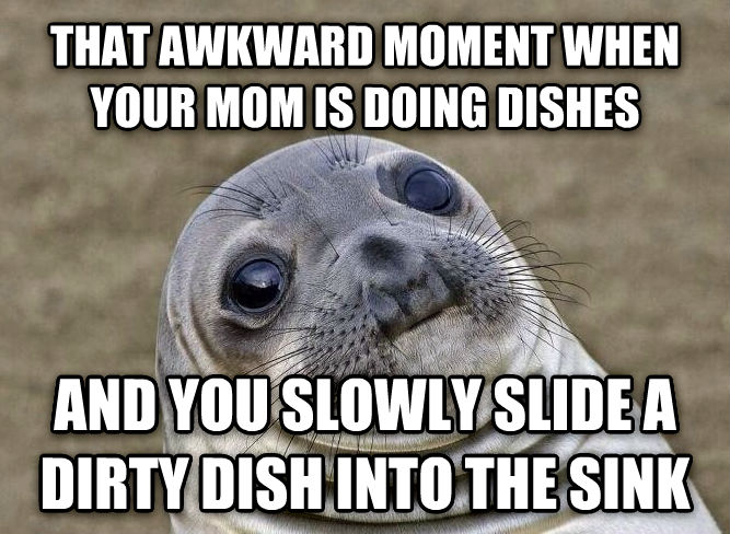 Uncomfortable Situation Seal that awkward moment when your mom is doing dishes  and you slowly slide a dirty dish into the sink  , made with livememe meme generator