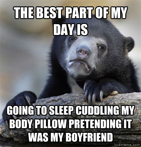 Confession Bear the best part of my day is going to sleep cuddling my body pillow pretending it was my boyfriend , made with livememe meme generator