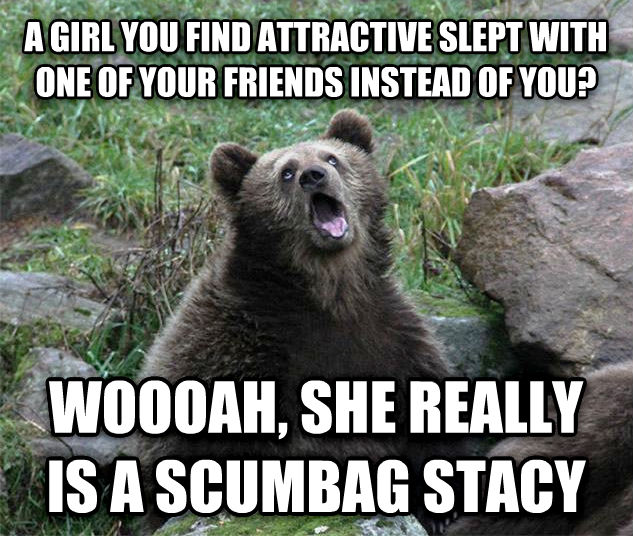 Sarcastic Bear a girl you find attractive slept with one of your friends instead of you? woooah, she really is a scumbag stacy , made with livememe meme maker