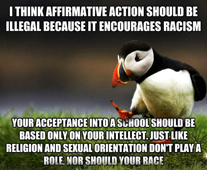 Unpopular Opinion Puffin i think affirmative action should be illegal because it encourages racism your acceptance into a school should be based only on your intellect. just like religion and sensual orientation don t play a role, nor should your race , made with livememe meme generator