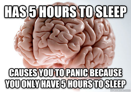 Scumbag Brain has 5 hours to sleep causes you to panic because you only have 5 hours to sleep , made with livememe meme generator