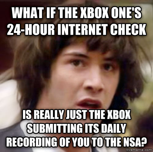 Conspiracy Keanu what if the xbox one s 24-hour internet check is really just the xbox submitting its daily recording of you to the nsa? , made with livememe meme creator
