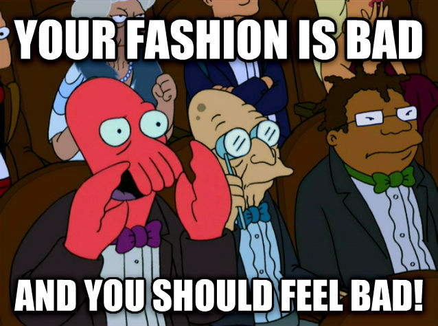 Zoidberg Disapproves your fashion is bad and you should feel bad! , made with livememe meme generator