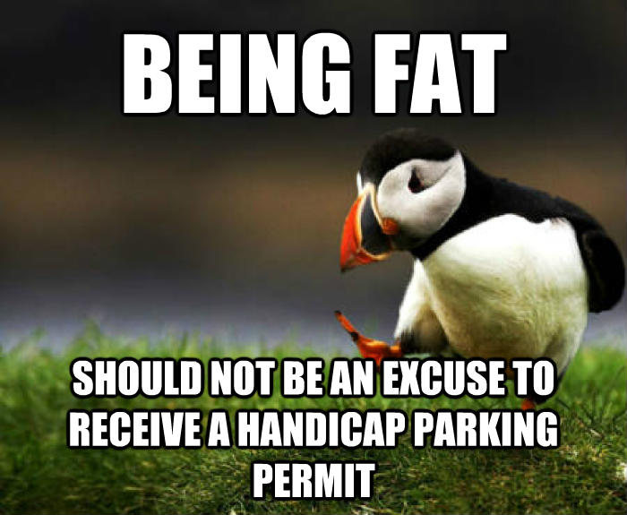 Unpopular Opinion Puffin being fat should not be an excuse to receive a handicap parking permit  , made with livememe meme maker