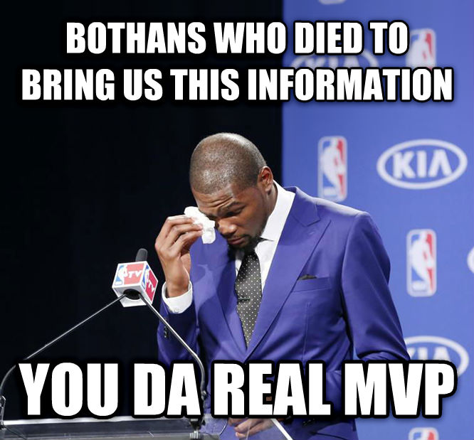 You Da Real MVP. bothans who died to bring us this information you da real mvp , made with livememe meme maker