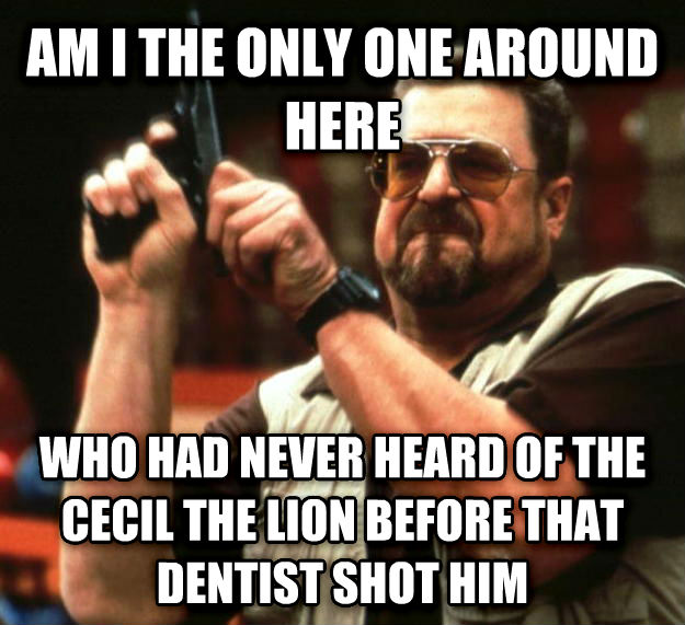 Angry Walter am i the only one around here who had never heard of the cecil the lion before that dentist shot him , made with livememe meme maker