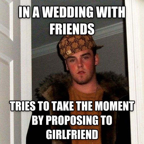 Scumbag Steve in a wedding with friends tries to take the moment by proposing to girlfriend , made with livememe meme generator