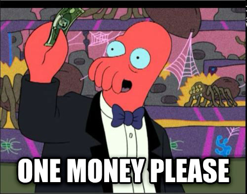 One Please Zoidberg  one money please , made with livememe meme maker