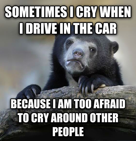 Confession Bear sometimes i cry when i drive in the car because i am too afraid to cry around other people , made with livememe meme creator
