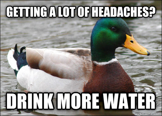Actual Advice Mallard getting a lot of headaches? drink more water , made with livememe meme creator
