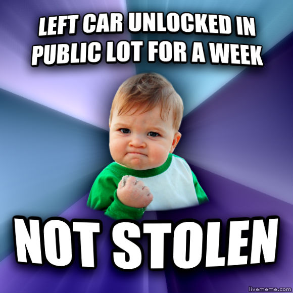 Success Kid left car unlocked in public lot for a week not stolen  , made with livememe meme creator