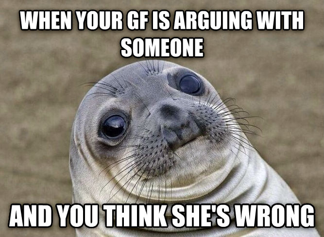 Uncomfortable Situation Seal when your gf is arguing with someone and you think she s wrong , made with livememe meme generator