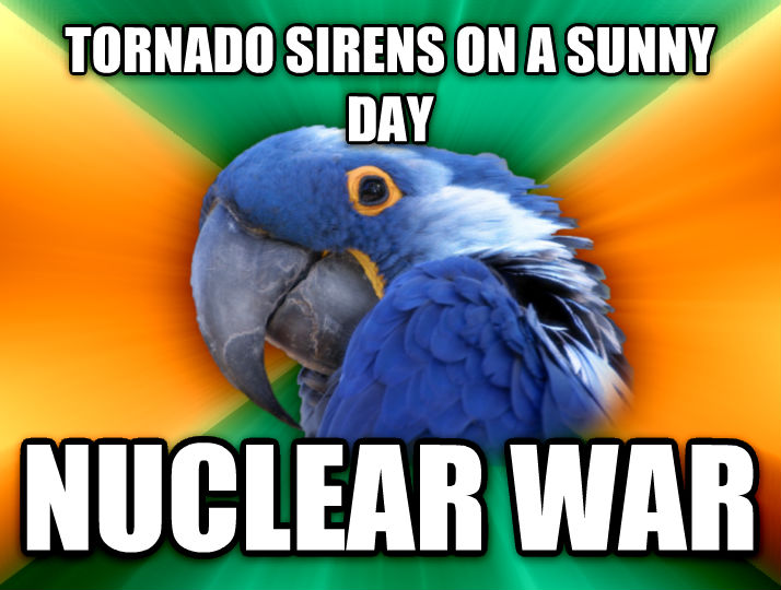 Paranoid Parrot tornado sirens on a sunny day nuclear war  , made with livememe meme generator