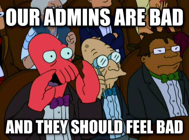 Zoidberg Disapproves our admins are bad and they should feel bad , made with livememe meme creator