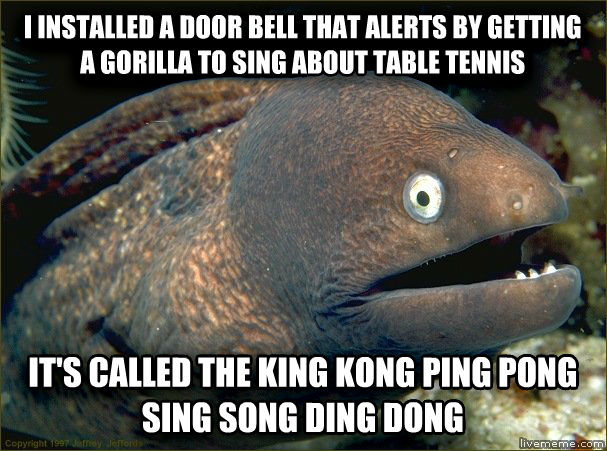 Bad Joke Eel i installed a door bell that alerts by getting a gorilla to sing about table tennis it s called the king kong ping pong sing song ding dong , made with livememe meme creator