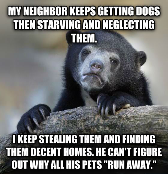 Confession Bear my neighbor keeps getting dogs then starving and neglecting them.  i keep stealing them and finding them decent homes. he can t figure out why all his pets  run away.  , made with livememe meme generator