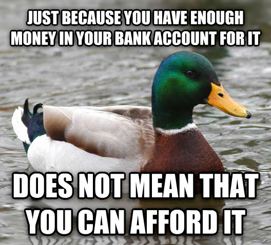 Actual Advice Mallard just because you have enough money in your bank account for it does not mean that you can afford it , made with livememe meme maker