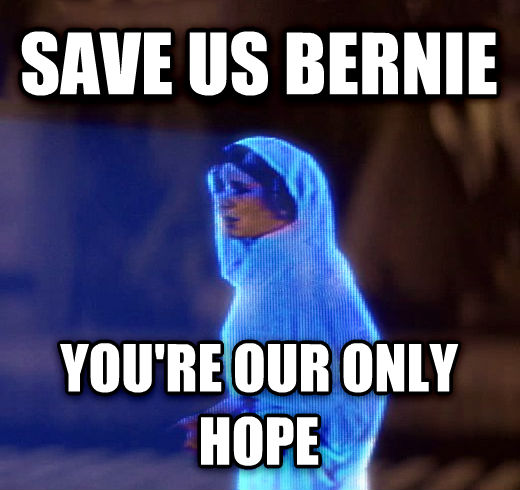 Princess Leia Only Hope save us bernie you re our only hope , made with livememe meme maker
