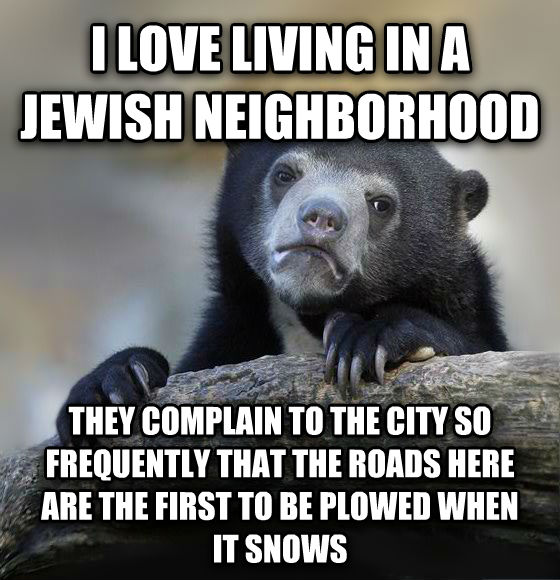 Confession Bear i love living in a jewish neighborhood they complain to the city so frequently that the roads here are the first to be plowed when  it snows , made with livememe meme creator