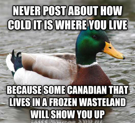 Actual Advice Mallard never post about how cold it is where you live because some canadian that lives in a frozen wasteland will show you up , made with livememe meme creator
