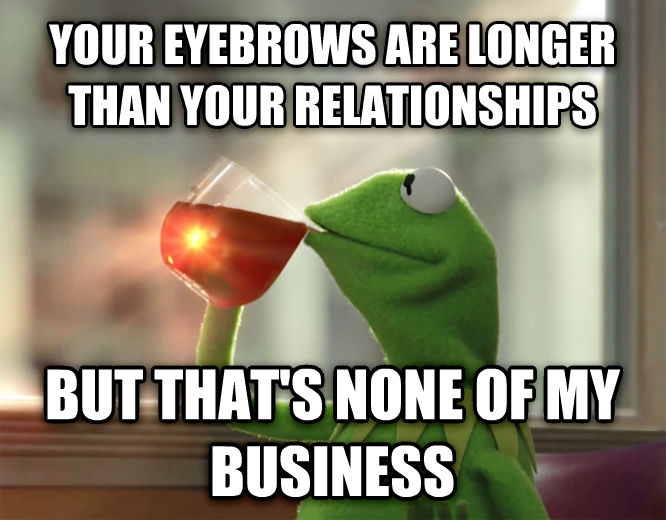 Kermit the Frog - But That s None Of My Business your eyebrows are longer than your relationships but that s none of my business , made with livememe meme creator
