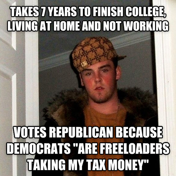 Scumbag Steve takes 7 years to finish college, living at home and not working votes republican because democrats  are freeloaders taking my tax money  , made with livememe meme creator
