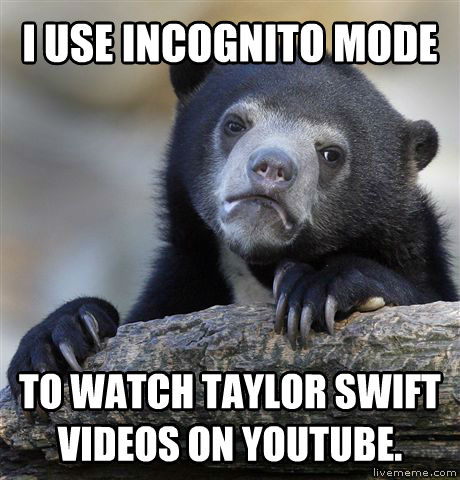 Confession Bear i use incognito mode to watch taylor swift videos on youtube. , made with livememe meme generator
