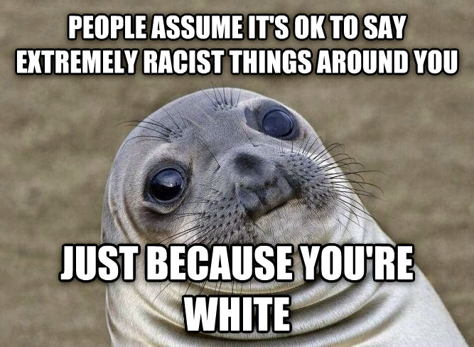 Uncomfortable Situation Seal people assume it s ok to say extremely racist things around you just because you re white , made with livememe meme maker