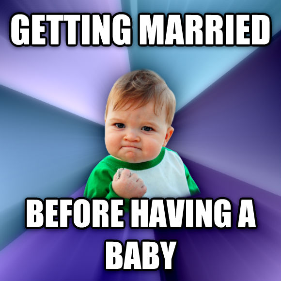 Success Kid getting married before having a baby  , made with livememe meme maker