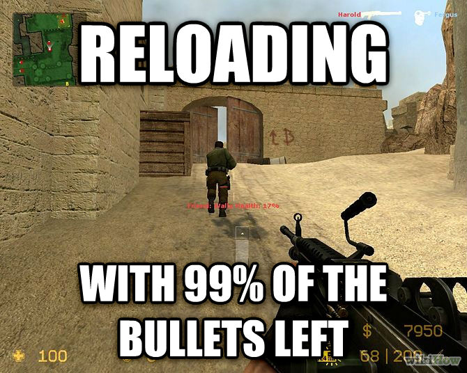 Gaming Habits reloading with 99% of the bullets left , made with livememe meme generator