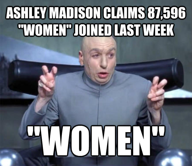 Dr. Evil  Quotation Marks  ashley madison claims 87,596  women  joined last week  women  , made with livememe meme creator